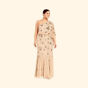 Adrianna Papell drape one shoulder long dress gown